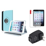 Insten Light Blue 360 Leather Case Cover+Protector+Charger for iPad Mini 3 2 1
