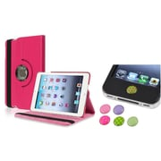 Insten Hot Pink 360 Leather Case Cover+Home Sticker for iPad Mini 3 2 1