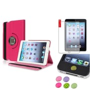 Insten Hot Pink 360 Leather Case Cover+Matte Protector for iPad Mini 3 2 1
