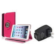 Insten Hot Pink 360 Stand Leather Case Cover+Charger for iPad Mini 3 2 1