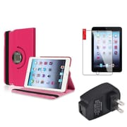 Insten Hot Pink 360 Leather Case Cover+SP+AC Charger for iPad Mini 3 2 1