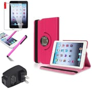 Insten Hot Pink 360 Leather Flip Case Cover+Protector Pen for iPad Mini 3 2 1