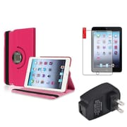 Insten Hot Pink 360 Leather Case Cover+Protector+Charger for iPad Mini 3 2 1