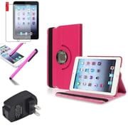 Insten Hot Pink 360 Leather Case Cover+Matte Protector/Pen/for iPad Mini 3 2 1