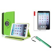 Insten Green 360 Leather Case Cover+Matte Protector/Stylus for iPad Mini 3 2 1