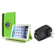 Insten Green 360 Leather Case Cover+Travel Charger For iPad Mini 3 2 1