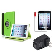 Insten Green 360 Leather Case Cover+Protector+AC Charger for iPad Mini 3 2 1