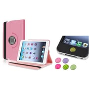 Insten Light Pink 360 Leather Case Cover+Sticker for iPad Mini 3 2 1