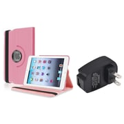 Insten Light Pink 360 PU Leather Case Cover+Charger for iPad Mini 3 2 1