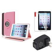 Insten Light Pink 360 Leather Case Cover+SP+Charger for iPad Mini 3 2 1