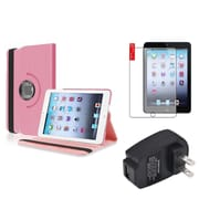 Insten Light Pink 360 Leather Case Cover+Protector+Charger for iPad Mini 3 2 1