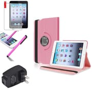 Insten Light Pink 360 Stand Leather Case Cover+AG SP for iPad Mini 3 2 1