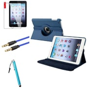 Insten Navy Blue Leather Case Cover Pouch+Pen+Cable for iPad Mini 3 2 1 (Auto Sleep/Wake)