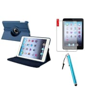 Insten Navy Blue 360 Leather Case Cover+Matte SP/Pen for iPad Mini 3 2 1