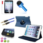 Insten Navy Blue Leather Case Cover Pouch+Stylus/Cable for iPad Mini 3 2 1 (Auto Sleep/Wake)