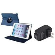 Insten Navy Blue 360 PU Leather Case Cover+Charger for iPad Mini 3 2 1