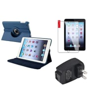 Insten Navy Blue 360 Leather Case Cover+SP+Charger for iPad Mini 3 2 1
