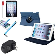 Insten Navy Blue 360 Stand Leather Case Cover+SP Pen for iPad Mini 3 2 1