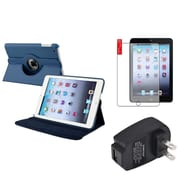 Insten Navy Blue 360 Leather Case Cover+Protector+Charger for iPad Mini 3 2 1