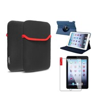 Insten Navy Blue 360 Leather Case Cover+Protector+Pouch for iPad Mini 3 2 1