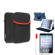 Insten Navy Blue 360 PU Leather Case Cover+Matte SP for iPad Mini 3 2 1