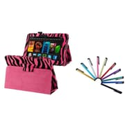 "Insten Hot Pink Zebra Leather Case Stand w/ Sleep Mode + 10 Colorful Touch Stylus Pen For Amazon Kindle Fire HD 7"" 2012"