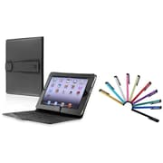 Insten Black Leather Case Stand + 10-Piece Colorful Touch Screen Stylus Pens For Apple iPad 1st