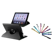 Insten 360 Swivel Black Rotating Leather Case w/ Sleep Mode + 10x Colorful Touch Stylus Pens For Apple New iPad 3 / 2