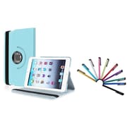 Insten Light Blue 360 Rotating Leather Case w/ Sleep Mode + 10X Colorful Touch Stylus Pens For Apple iPad Mini 1 / 2 / 3