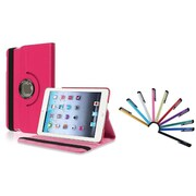 Insten Hot Pink Leather Case w/ Sleep Mode + 10-Piece Colorful Stylus For iPad Mini 3 2 1