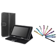 "Insten Black Leather Case with Stand + 10-Piece Colorful Stylus Pen For Universal 7"" inch Tablet (Fit iPad Mini 3)"
