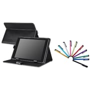 "Insten Black Leather Case Stand + 10-Piece Colorful Touch Stylus Pens For Universal 10"" 10 inch Tablet"