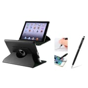 Insten 360 Swivel Black Rotating Leather Case w/ Sleep Mode + 2in1 Stylus with Ballpoint Pen For Apple New iPad 3 / 2
