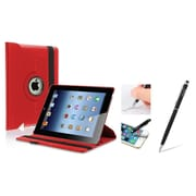 Insten Red 360 Swivel Rotating Leather Case w/ Sleep Mode + Black Stylus with Ballpoint Pen For Apple New iPad 3 / 2