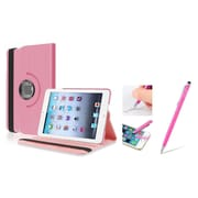 Insten Light Pink Leather Case w/ Sleep Mode + 2in1 Stylus For iPad Mini 3 2 1