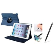 Insten Navy Blue Leather Case w/ Sleep Mode + Black Stylus For iPad Mini 3 2 1