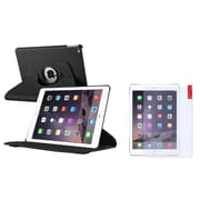 Insten 360 Degree Black Rotating Stand Leather Pouch+Anti-Glare Protector for Apple iPad Air 2nd Gen