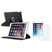 Insten Black Ultra Slim Leather 360 Degree Rotating Cover Case with Stand + 3 Packs Protector For iPad Air 2 2nd Gen