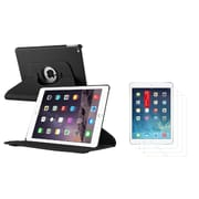 Insten Black Ultra Slim Multi Angle Stand Leather Case For iPad Air 2 2nd Gen+ 3 Packs Anti-Glare LCD Protector