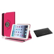 Insten Hot Pink Flip Leather Multi Angle View Stand Case+Bluetooth Keyboard For Apple iPad Mini 1 2 3 Gen