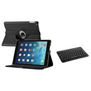 Insten 360 Swivel Black Leather Flip Case+Bluetooth Keyboard For Apple iPad Air 1 1st