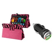 "Insten Leather Case For Kindle Fire HD 7"", Hot Pink Zebra (2012 ver ONLY)(Auto Wake) (w/ 2-Port USB Car Charger Adapter)"