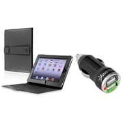 Insten Leather Case For Apple iPad, Black (with 2-Port USB Car Charger Adapter)