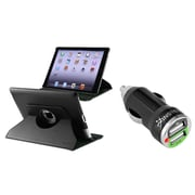 Insten 360 Degree Black Rotating Magnetic Leather Case Cover Stand For iPad 3 4 (with 2-Port USB Car Charger Adapter)