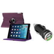 Insten 360 Rotating Swivel Stand Leather Case For Apple iPad Air, Purple (with 2-Port USB Car Charger Adapter)