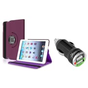 Insten Purple Leather Case for iPad Mini 3rd 2nd 1st Violet (w/ 2-Port USB Car Charger Adapter)