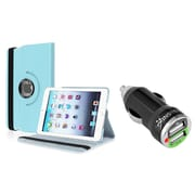 Insten Swivel Leather Case For iPad Mini 3 / 1 / 2 with Retina Display, Light Blue (w/ 2-Port USB Car Charger Adapter)