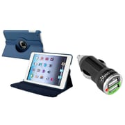 Insten Navy Blue Leather Case for iPad Mini 3rd 2nd 1st (w/ 2-Port USB Car Charger Adapter)
