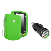 Insten Silicone Skin Case For Leapfrog LeapPad 2, Green (with 2-Port USB Car Charger Adapter)