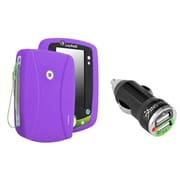 Insten Silicone Skin Case For Leapfrog LeapPad 2, Purple (with 2-Port USB Car Charger Adapter)